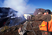 Scientist, Kilauea Volcano, Hawaii Volcanoes National Park, Island of Hawaii, (editorial use only, no model release)<br />