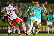 Forest Green Rovers Theo Archibald(18) is tackled by Stevenage's Luther Wildin(2) during the EFL Sky Bet League 2 match between Forest Green Rovers and Stevenage at the New Lawn, Forest Green, United Kingdom on 21 August 2018.