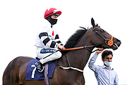 Lafontaine ridden by Nicola Currie and trained by Sylvester Kirk - Mandatory by-line: Robbie Stephenson/JMP - 18/07/2020 - HORSE RACING- Bath Racecourse - Bath, England - Bath Races 18/07/20