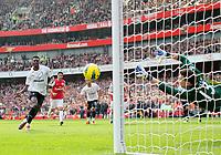 20120226: LONDON, UK - Barclays Premier League 2011/2012: Arsenal vs Tottenham.<br /> In photo: Tottenhams Emmanuel Adebayor scoring his sides second goal.<br /> PHOTO: CITYFILES