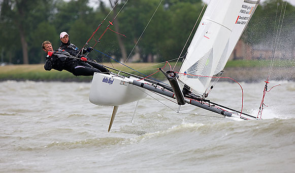 08_004256 © Sander van der Borch. Medemblik - The Netherlands,  May 25th 2008 . Sebbe Godefroid and Carolijn Brouwer sailing just after the finish of the medal race of the Delta Lloyd Regatta 2008.