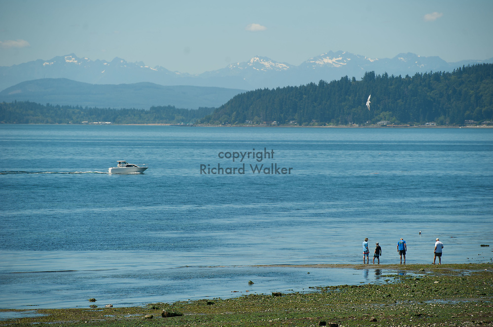 2017 JULY 25 - People enjoy a low tide at Alki Beach near Constellation Park, Seattle, WA, USA. By Richard Walker
