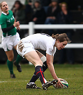 29 Feb 2010 Esher, Surrey: England's Emily Scarratt scores a try during the Women's Six Nations game between England and Ireland at Esher Rugby Club (photo by Andrew Tobin/SLIK images)