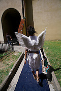 Italy, Florence, Fortezza da Basso, Fitfestival, festival hostess dressed like angel