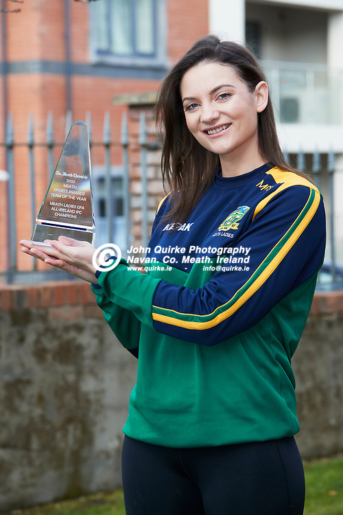 """06/03/2021, Meath Chronicle Sports Awards 2020<br /> Meath Ladies Captain, Maire O`Shaughnessy pictured with the Meath Sports Awards """"Team of the year"""" Trophy<br /> <br /> Photo: David Mullen / www.quirke.ie ©John Quirke Photography, Proudstown Road Navan. Co. Meath. 046-9079044 / 087-2579454.<br /> ISO: 320; Shutter: 1/250; Aperture: 7.1;"""