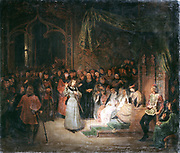 Joan of Arc before King Charles VII at Chinon, replies to the prelates who are interrogating her, February 1429'.  St Joan (c1412-1431) Maid of Orleans, French patriot and martyr .Gillot Saint-Evre (1791-1858) and Dominique-Louis Ferreol Papety. French Painters. Chateau de Versailles.