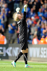 Leicester City's Kasper Schmeichel celebrates the 5 - 3 win against Manchester United - Photo mandatory by-line: Dougie Allward/JMP - Mobile: 07966 386802 - 21/09/2014 - SPORT - FOOTBALL - Leicester - King Power Stadium - Leicester City v Manchester United - Barclays Premier League