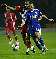Photo: Steve Bond/Richard Lane Photography. Leicester City v Leyton Orient. Coca Cola League One. 10/01/2009. Tamika Mkandawire (back) grapples with Mark Davies (front)