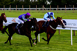 Bay Watch ridden by Charles Bishop and trained by Tracey Barfoot-Saunt wins the Patent Paradise At Valuerater.co.uk Handicap ahead of Haveoneyerself ridden by Darragh Keenan and trained by John Butler - Mandatory by-line: Dougie Allward/JMP - 10/07/2020 - HORSE RACING - Bath Racecourse - Bath, England - Bath Races