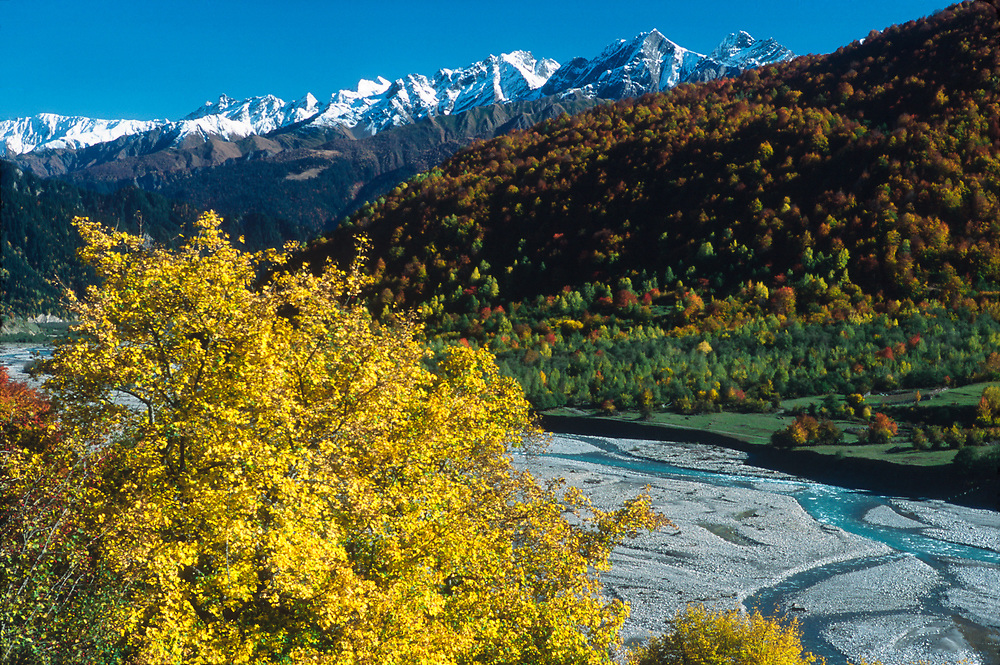 Rioni River, autumn, Racha Region, northwestern The Country of Georgia