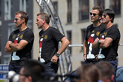 15.07.2014, Brandenburger Tor, Berlin, GER, FIFA WM, Empfang der Weltmeister in Deutschland, Finale, im Bild Hansi Flick, Andreas Koepke, Oliver Bierhoff und Joachim Loew (v.l.) // during Celebration of Team Germany for Champion of the FIFA Worldcup Brazil 2014 at the Brandenburger Tor in Berlin, Germany on 2014/07/15. EXPA Pictures © 2014, PhotoCredit: EXPA/ Eibner-Pressefoto/ Hibbeler<br /> <br /> *****ATTENTION - OUT of GER*****