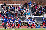 Newburgh, New York - Goshen players and fans celebrate during the Orange County Youth Football League Division II Super Bowl at Newburgh Free Academy on Nov. 22, 2014.
