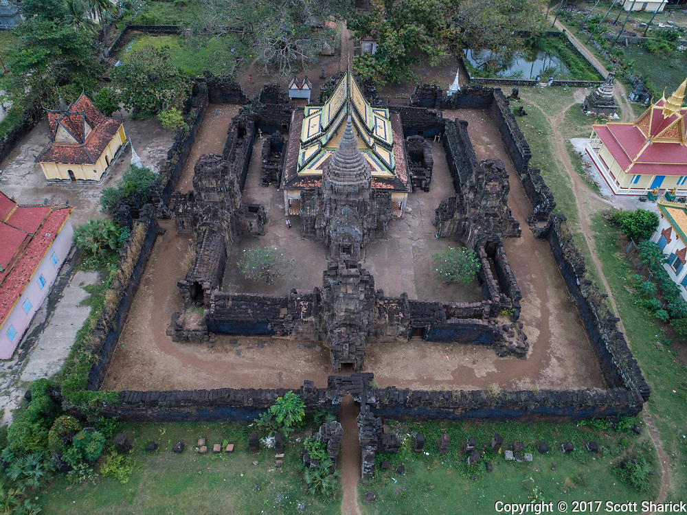 This pagoda can be found in Kampong Cham, Cambodia. This city, with a population of 61,000 people sits along the Mekong River. Wat Nokor Bachey has a modern pagoda built in the middle of an Ankorian era temple builtin the 12th century.