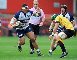 Bristol Prop Anthony Perenise breaks free  - Photo mandatory by-line: Joe Meredith/JMP - Mobile: 07966 386802 - 21/09/2014 - SPORT - FOOTBALL - Bristol - Ashton Gate - Bristol Rugby v Cornish Pirates - Greene King IPA Championship