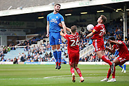 Peterborough United defender Jason Naismith (2) with this header during the EFL Sky Bet League 1 match between Peterborough United and Accrington Stanley at London Road, Peterborough, England on 20 October 2018.
