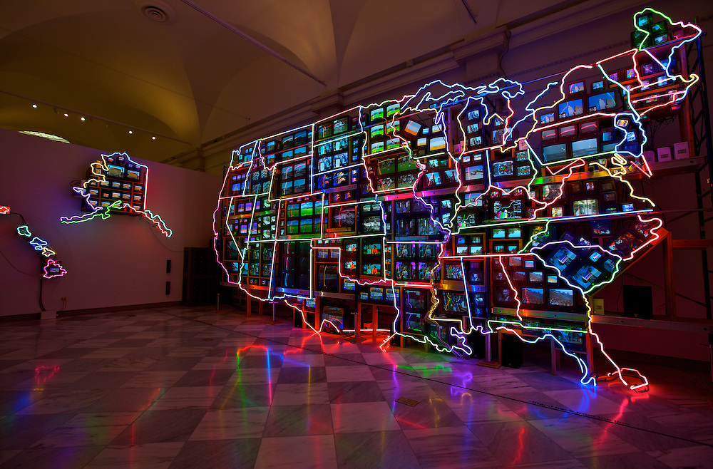 """Electronic Superhighway"" by artist Nam June Paik is an incredible neon and video map display at the National Portrait Gallery, part of the Smithsonian Institution in Washington DC. Paik was the first to use the phrase electronic superhighway."