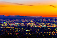 Skyline of Albuquerque at twilight (downtown on left), New Mexico USA