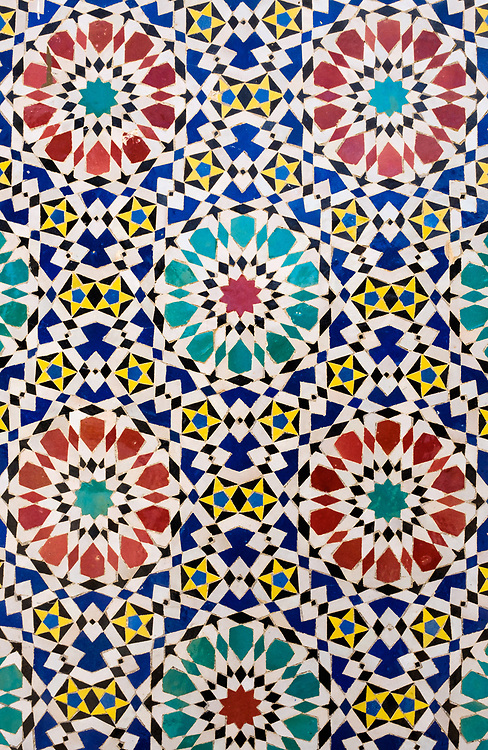 FEZ, MOROCCO - CIRCA APRIL 2017:  Detail of typical moroccan mosaics in Fez