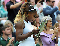 Tennis - 2019 Wimbledon Championships - Week Two, Saturday (Day Twelve)<br /> <br /> Women's Singles, Final: Serena Williams (USA) vs. Simona Halep (ROU)<br /> <br /> Serena Williams looks at the names on her runners up plate, on Centre Court.<br /> <br /> COLORSPORT/ANDREW COWIE