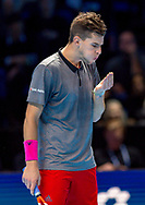 Dominic Thiem of Austria blows on his fingers during the Nitto ATP World Tour Finals at the O2 Arena, London, United Kingdom on 13 November 2018.Photo by Martin Cole