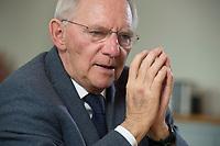 23 FEB 2016, BERLIN/GERMANY:<br /> Wolfgang Schaeuble, CDU, Bundesfinanzminister, waehrend einem Interview, in seinem Buero, Bundesministerium der Finanzen<br /> IMAGE: 20160223-01-024<br /> KEYWORDS: Wolfgang Schäuble