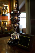 The Vienna Cup, won in 1914, on display in the boardroom at The Oval, Belfast, pictured before Glentoran hosted city-rivals Cliftonville in an NIFL Premiership match. Glentoran, formed in 1892, have been based at The Oval since their formation and are historically one of Northern Ireland's 'big two' football clubs. They had an unprecendentally bad start to the 2016-17 league campaign, but came from behind to win this fixture 2-1, watched by a crowd of 1872.