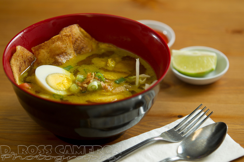 Soto ayam, or tumeric chicken soup, an entree served at Padi, an Indonesian restaurant in San Leandro, Calif., photographed Sunday, Dec. 22, 2013. (Photo by D. Ross Cameron)