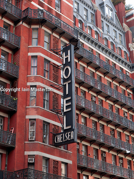 Exterior of famous Chelsea Hotel in Manhattan New York City USA