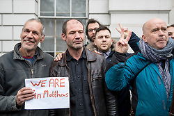 © Licensed to London News Pictures. 14/02/2018. London, UK. James (Jim) Matthews (second left) poses with well-wishers as he arrives at Westminster Magistrates Court to appear charged with one count of 'attending a place used for terrorist training', under section 8 of the Terrorism Act 2006. The former British Army soldier fought with Kurdish forces - the YPG - against ISIS in Syria. Photo credit : Tom Nicholson/LNP