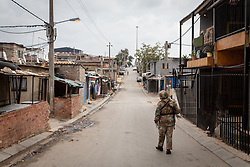 JOHANNESBURG, April 1, 2020  A soldier patrols on a street in Johannesburg, South Africa, March 31, 2020. South African President Cyril Ramaphosa on Monday defended the 21-day national lockdown against the coronavirus pandemic which began on midnight Thursday, saying it is ''absolutely necessary.'' (Photo by Yeshiel PanchiaXinhua) (Credit Image: © Xinhua via ZUMA Wire)