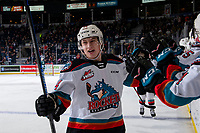 KELOWNA, BC - FEBRUARY 28: Elias Carmichael #14 of the Kelowna Rockets celebrates scoring his second WHL goal and the first for the Kelowna Rockets during second period at Prospera Place on February 28, 2020 in Kelowna, Canada. (Photo by Marissa Baecker/Shoot the Breeze)