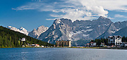 Lake Misurina (1751 meters elevation), near Cortina d'Ampezzo, in the Cadore mountain community, in the Dolomites or Dolomiti (part of the Southern Limestone Alps), Italy. The Dolomites mountains were declared a natural World Heritage Site (2009) by UNESCO. Panorama stitched from 2 overlapping photos.