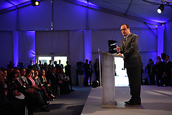 French President Francois Hollande delivers his speech during the inauguration of the Research and Development Center Safran Electronics and Defense, in Eragny, near Paris, France on October 5, 2016. Safran is an international high-technology group and supplier of systems and equipment in its core markets of Aerospace, Defense and Security. Photo by Christian Liewig/ABACAPRESS.COM
