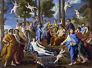 Apollo and the Muses (Parnassus)', 1631-1632. Oil on canvas. Nicolas Poussin (1594–1665) French classical painter. Parnassus, mountain near Delphi, Greece, one summit dedicated to Apollo and the Muses, the other to Bacchus.