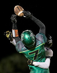 November 17, 2017 - Delray Beach, Florida, U.S. - Atlantic Eagles Corey Gammage (7) has a pass deflected away by Park Vista Cobras cornerback Josh Natalus (24) in the second quarter in Delray Beach, Florida on November 17, 2017. (Credit Image: © Allen Eyestone/The Palm Beach Post via ZUMA Wire)