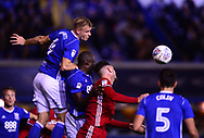 Marc Roberts of Birmingham city wins a header .EFL Skybet championship match, Birmingham city v Cardiff city at St.Andrew's stadium in Birmingham, the Midlands on Friday 13th October 2017.<br /> pic by Bradley Collyer, Andrew Orchard sports photography.