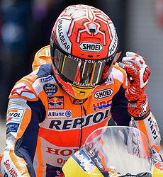 October 26, 2018 - Melbourne, Victoria, Australia - Spanish rider Marc Marquez (#93) of Repsol Honda Team removes his visor protector during day 2 of the 2018 Australian MotoGP held at Phillip Island, Australia. (Credit Image: © Theo Karanikos/ZUMA Wire)