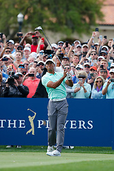 March 16, 2019 - Ponte Vedra Beach, FL, U.S. - PONTE VEDRA BEACH, FL - MARCH 16: Tiger Woods of the United States tees off on the first hole during the third round of THE PLAYERS Championship on March 16, 2019 on the Stadium Course at TPC Sawgrass in Ponte Vedra Beach, Fl. (Photo by David Rosenblum/Icon Sportswire) (Credit Image: © David Rosenblum/Icon SMI via ZUMA Press)