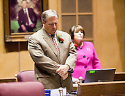 09 JANUARY 2012 - PHOENIX, AZ:  Republican State Sen Adam Driggs at the state legislature Monday. Gov Brewer delivered her State of the State inside while outside representatives of interest groups picketed and protested. The Arizona legislature started its 2012 session and Gov. Jan Brewer delivered her State of the State Monday, Jan 9.                   PHOTO BY JACK KURTZ