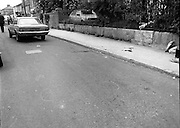 Scene Of Garda Shooting In North Strand.  (N78)..1981..26.05.1981..05.26.1981..26th May 1981..After a shootout in North Strand, Dublin, a Special Task Force Detective was shot and wounded. Word from The Richmond Hospital was that the detective was lucky to be alive as the bullet had narrowly missed a vital artery. He is said to be recovering after surgery...Image shows the scene of the shooting in North Strand. The Garda's blood is seen spilt on the foothpath and roadway..