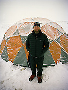 Anthropologist Ted Callahan in front of his winter tent at Qyzyl Qorum camp..Winter expedition through the Wakhan Corridor and into the Afghan Pamir mountains, to document the life of the Afghan Kyrgyz tribe. January/February 2008. Afghanistan