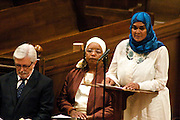 "14 April 2012-Santa Barbara, CA: ""Voice Seven"", Afaf Turjoman, Reading from the Koran.  Babatunde Folayemi Memorial Service at First United Methodist Church, 305 East Anapamu Street, Santa Barbara, CA. Family and friends gathered immediately following the service for refreshments and sharing in the Fellowship Hall of the church.Artist, Youth advocate, community leader, and former Santa Barbara City Council Member Babatunde Folayemi passed away on Wednesday, March 28, peacefully at home. He was 71, and is survived by his wife Akivah Northern, Cinque Folayemi Northern his son, several nieces and nephews, as well as grand-nieces and grand-nephews. He is also survived by his wifes Aunt Bea (Vivian Scarbrough), who is 105 years old. Photo by Rod Rolle"