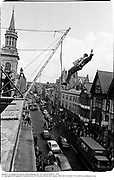 Member of Dangerous sports Club jumping out over Oxford High St. 1983<br />© Copyright Photograph by Dafydd Jones 66 Stockwell Park Rd. London SW9 0DA Tel 020 7733 0108 www.dafjones.com