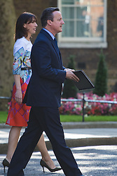 Downing Street, London, June 24th 2016. British Prime Minister David Cameron appears before the world's press gathered in Downing Street and announces that he will step aside with a new Prime Minister in place before the Party Conference, after the country votes to leave the European Union. PICTURED:  David Cameron and his wife Samantha emerge from 10 Downing Street to face the press.