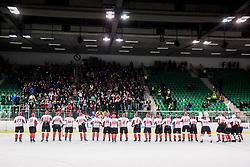 Players of Jesenice celebrate after winning during ice hockey match between  HK SZ Olimpija and HDD SIJ Acroni Jesenice in 23rd Round of AHL - Alps Hockey League 2017/18, on December 16, 2017 in Hala Tivoli, Ljubljana, Slovenia. Photo by Vid Ponikvar / Sportida
