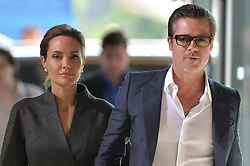 June 13, 2014 - London, England, United Kingdom - Image ©Licensed to i-Images Picture Agency. 13/06/2014...Brad Pitt and Angelina Jolie arrive at the End Sexual Violence In Conflict Global Summit 2014 at The ExCel, London, UK...Picture by i-Images (Credit Image: © I-Images/i-Images/ZUMAPRESS.com)