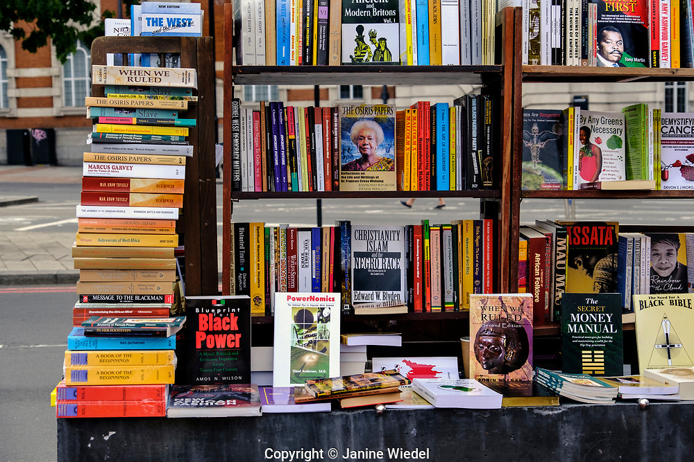 Book stall in Brixton at Reparation Revolution Festival on Emancipation Day.