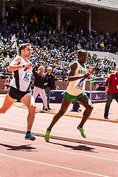 Penn Relays, College men 4 x mile relay, anchor leg, Cheserek, Oregon, Williamsz, Villanova, hit homestretch