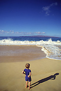 Boy on Beach, Makena Beach, Wailea, Maui, Hawaii<br />