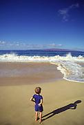 Boy on Beach, Makena Beach, Wailea, Maui, Hawaii<br />
